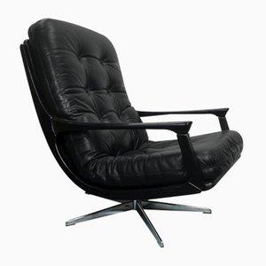 Schwarzer Leder Bürostuhl, 1960er