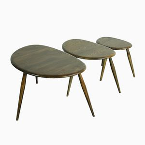 Vintage Dark Pebble Nesting Tables by Lucian Ercolani for Ercol