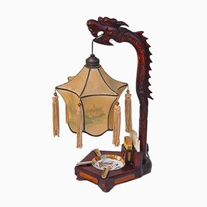 Chinese Dragon Table Lamp with Ashtray and Cigarette Holder, 1920s