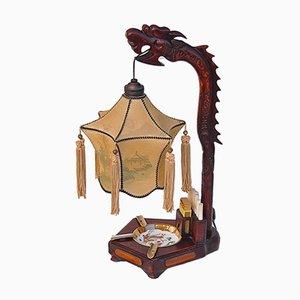 Lampada da tavolo a forma di drago cinese con posacenere e portasigarette, anni '20
