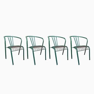 Stackable Tubular Metal Outdoor Chairs, 1950s, Set of 4