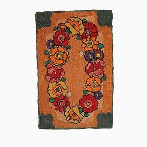 Vintage Handmade American Hooked Rug, 1940s