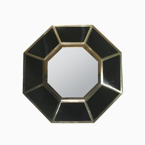 Octagonal Lacquered Brass Mirror by Willy Rizzo, 1970s