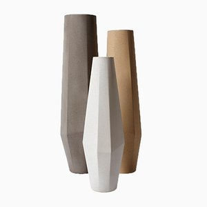 Marchigue Vases in White, Grey, & Beige Concrete by Stefano Pugliese for Crea Concrete Design, Set of 3