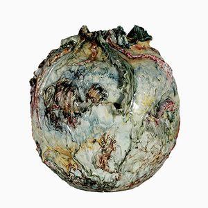 Jarrón de cerámica de mayólica de Nicola Ciavardoni para C.A.F. Albisola, década de 1900