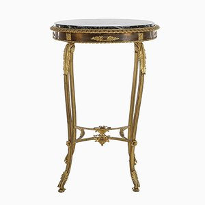 Tavolino Napoleone III in bronzo dorato con ripiano in marmo, Francia, XIX secolo