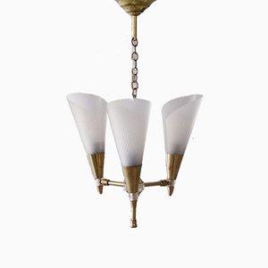 Lampe à Suspension en Laiton avec Abat-Jour Ajustables, France, 1950s