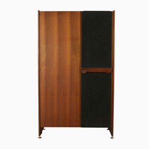 Italian Wardrobe in Teak Veneer, Fabric Upholstery, Brass, and Metal, 1960s