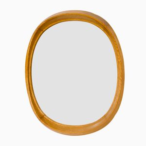 Swedish Oak Oval Wall Mirror from Fröseke, 1950s