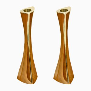 Swedish Brass Candlesticks by K.E. Ytterberg for BCA Eskilstuna, 1960s, Set of 2