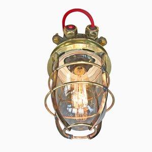 Industrielle Stahl & Messing Schreibtischlampe mit Glasschirm & Edison Birne, 1970er