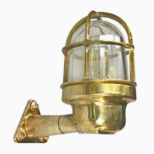 Lampada da parete industriale in ottone di Wiska, anni '70
