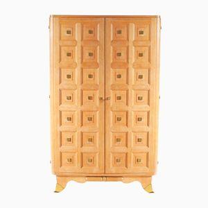 Art Deco Oak & Brass Cabinet, 1940s
