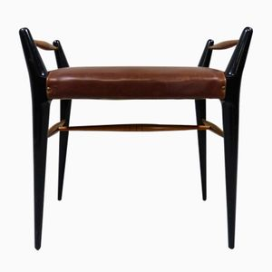 Vintage Italian Stool with Black Lacquered Frame and Brown Leather Seat, 1950s