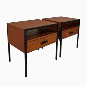 Vintage Teak Veneer Bedside Tables by Cees Braakman for Auping, Set of 2