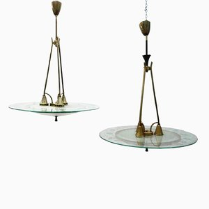 Vintage Glass and Brass Chandeliers by Pietro Chiesa for Fontana Arte, Set of 2