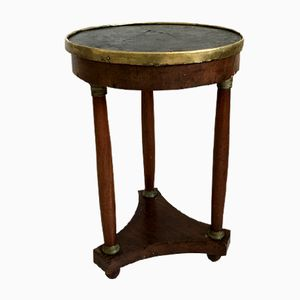 Tavolino antico imperiale in mogano e marmo