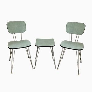 Vintage Formica Chairs & Stool Set, 1960s