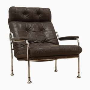 Mid-Century Swedish Leather and Chrome Modernist Lounge Chair, 1960s