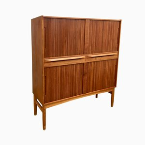 Tall Mid-Century Teak Cabinet with Tambour Doors by Ib Kofod Larsen for Federicia