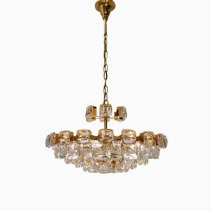 Lampadario vintage placcato in oro con 101 cristalli ottici di Palwa