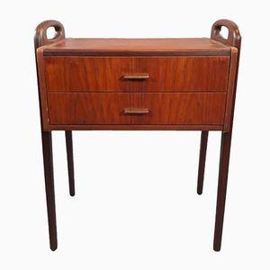 Vintage Scandinavian Teak Veneer Bedside Table, 1950s