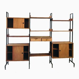 Mid-Century Shelving and Cupboard Unit with Veneered Modules, 1960s