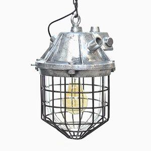 Vintage Suspension Lamp in Cast Aluminum & Glass