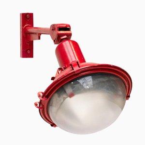 Lampada da parete industriale rossa con braccio regolabile