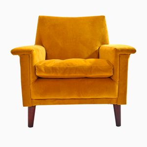 British Gold Velvet Armchair, 1960s