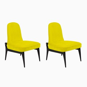 Italian Yellow Low Chairs, 1950s, Set of 2