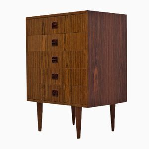 Mid-Century Danish Zebrano Teak Chest of Drawers, 1950s