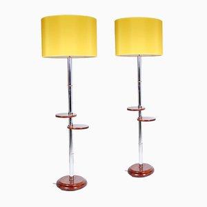 Belgian Walnut & Chrome Lamps, Set of 2