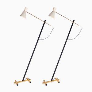 Mid-Century Italian Metal Floor Lamps, 1960s, Set of 2