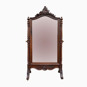 Antique Large Louis XV Style Walnut Psyche Mirror