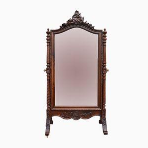 Specchio Psyche in stile Luigi XV in noce