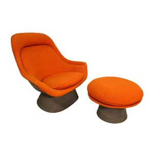 Easy Chair With Ottomane By Warren Platner For Knoll International, 1970s