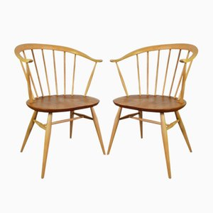 Vintage Beistellstühle mit Geschwungener Rückenlehne von Lucian Ercolani für Ercol, 1960er, 2er Set