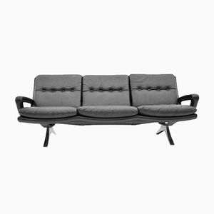 Black Leather Sofa from Strässle, 1970s