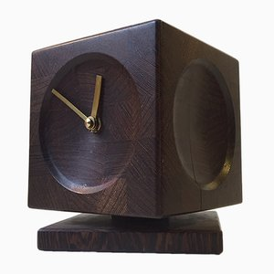 Reloj de mesa danés Mid-Century cúbico, años 60