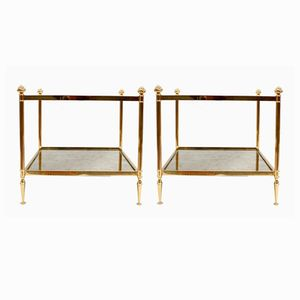 Gilded Brass End Tables with Oxidized Mirror and Glass, 1970s, Set of 2