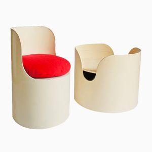 Chaise et Table Basse en Papier Carton par Bernard Holdaway pour Tomotom, 1960s