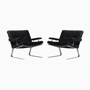 Chrome and Black Leather Easy Chairs, 1960s, Set of 2