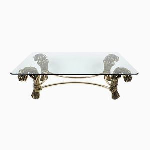 Belgian Gilded Metal & Glass Coffee Table, 1970s