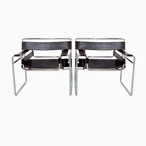 Brown Leather Wassily Chairs by Marcel Breuer for Gavina, 1970s