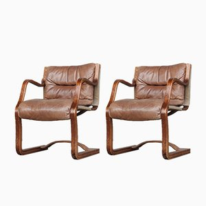 Danish Cantilever Plywood and Leather Armchairs by Esko Pajamies for Asko, 1950s, Set of 2