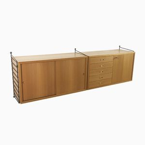 Swedish Elm Veneered Wall Units by Nisse Strinning for String, 1970s