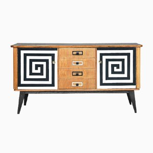 Mid-Century Sideboard with Hand-Painted Pattern, 1960s