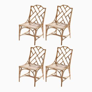 Bamboo & Cane Chairs, 1970s, Set of 4