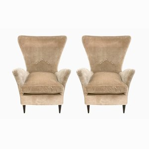Italian Beige Velvet Armchairs, 1950s, Set of 2